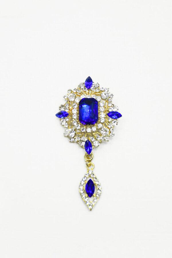 Брошь золотистая с синими и белыми кристаллами
