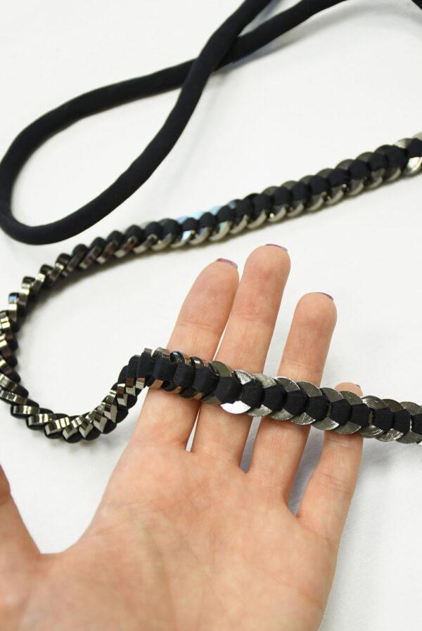 Пояс черный тканевый с металлическими кольцами 2