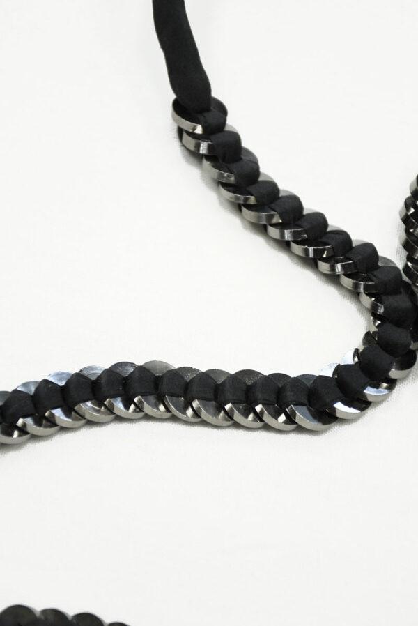 Пояс черный тканевый с металлическими кольцами 1