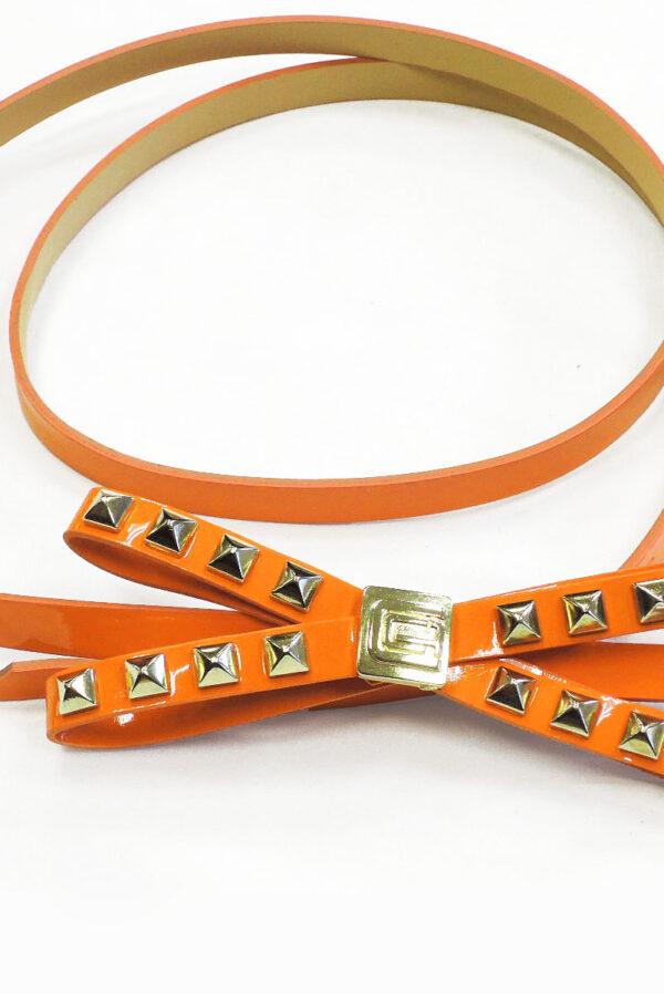 Ремень экокожа лаке оранж с бантиком 1