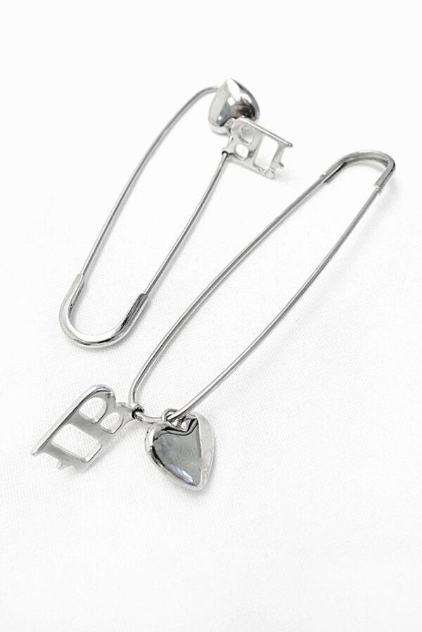 Булавка металл серебро брелок сердечко 1