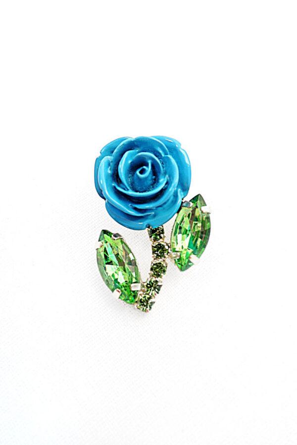 Брошь голубая роза металл эмаль кристаллы