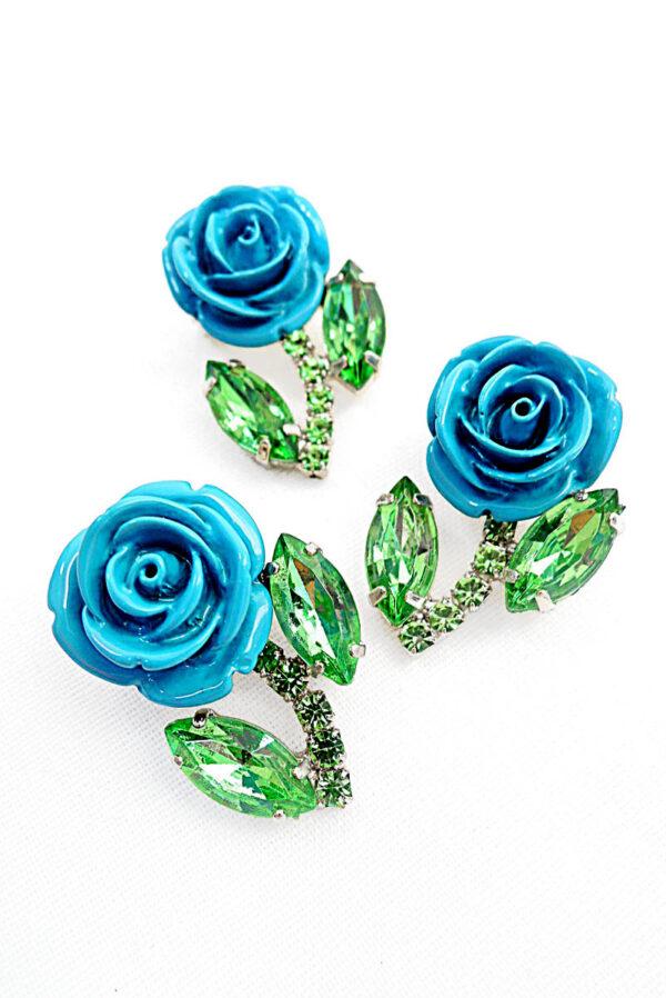 Брошь голубая роза металл эмаль кристаллы 2