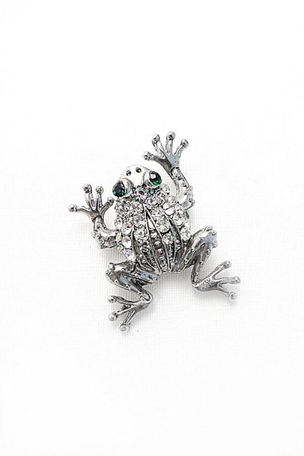Брошь металл серебро лягушка со стразами