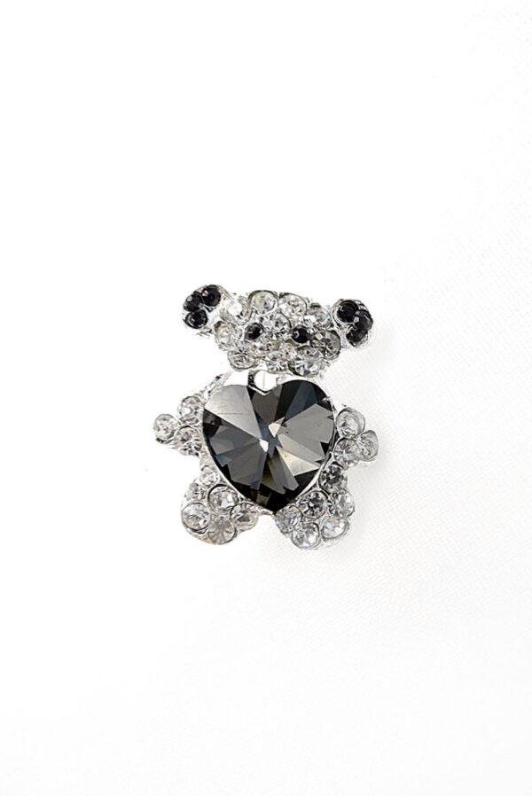 Брошь металл серебро мишка с кристаллами