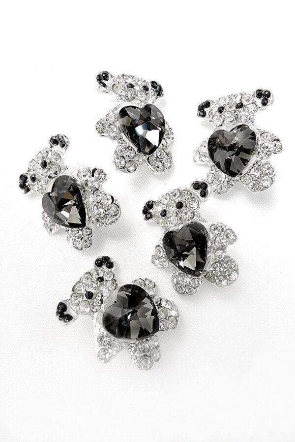 Брошь металл серебро мишка с кристаллами 1