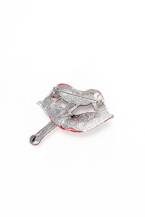 Брошь металл серебро губы сигарета с кристаллами 1
