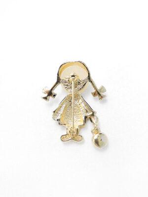Брошь металл эмаль золото девочка с кристаллом 1