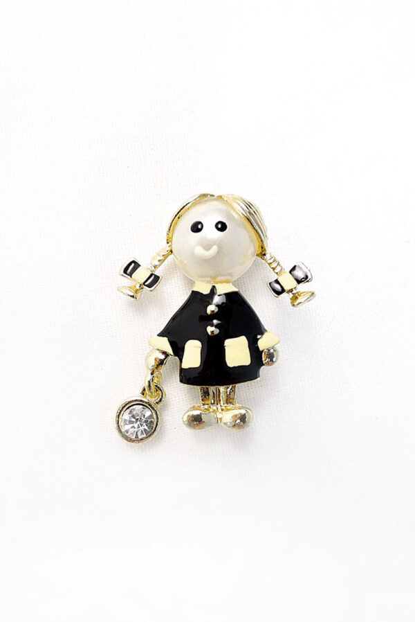Брошь металл эмаль золото девочка с кристаллом
