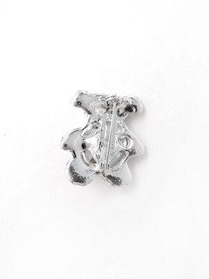 Брошь металл серебро мишка с красным сердцем 1
