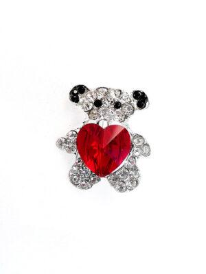 Брошь металл серебро мишка с красным сердцем