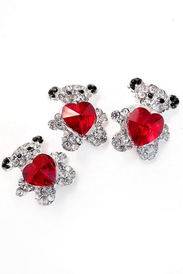 Брошь металл серебро мишка с красным сердцем 2