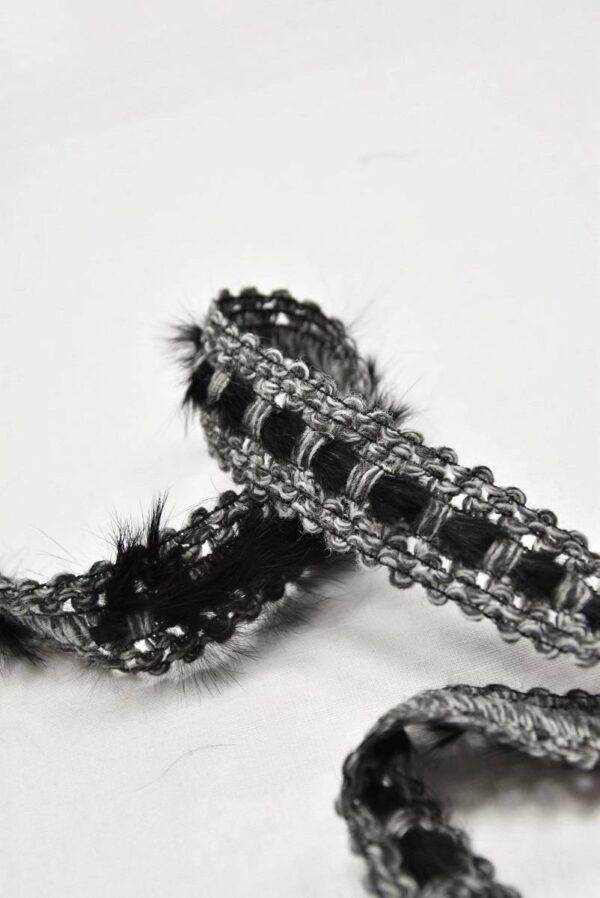 Тесьма серая с меховыми вставками (t0585) т-5 - Фото 9