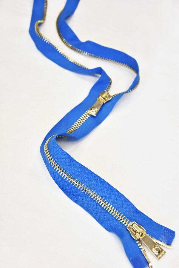 Молния разъемная голубая металл золото 55 см (m0918) - Фото 10