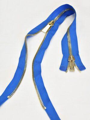 Молния разъемная голубая металл золото 55 см (m0918) - Фото 12