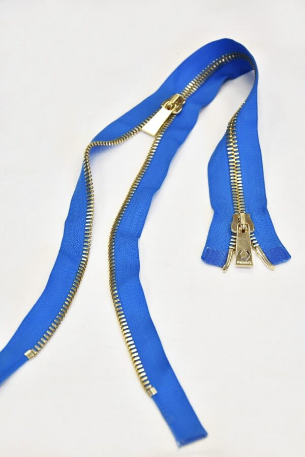 Молния разъемная голубая металл золото 55 см (m0918) - Фото 6