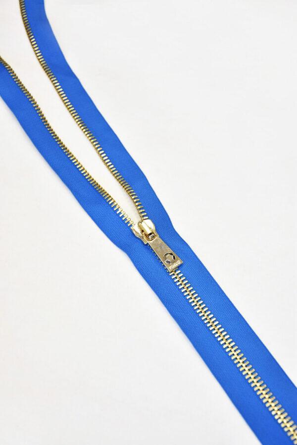 Молния разъемная голубая металл золото 55 см (m0918) - Фото 9