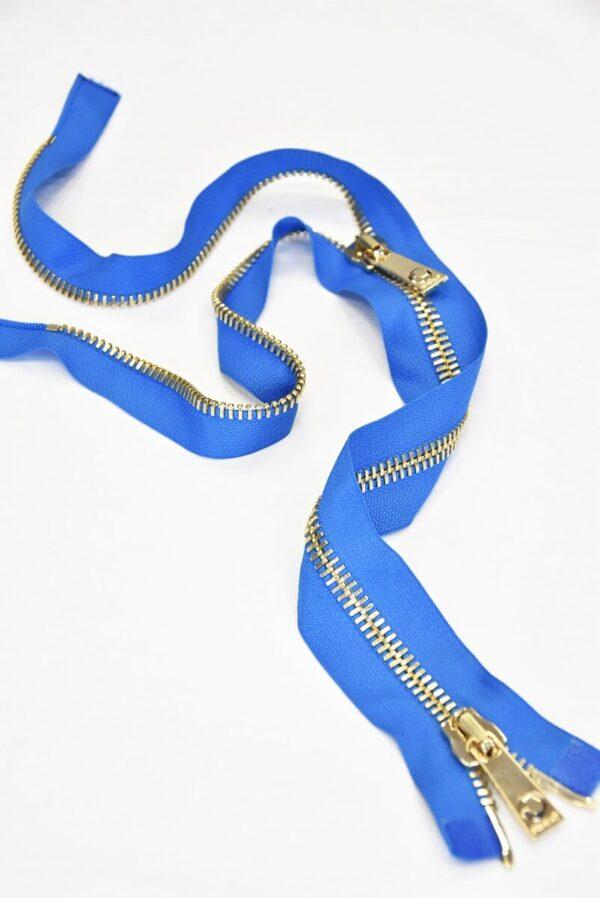 Молния разъемная голубая металл золото 55 см (m0918) - Фото 8
