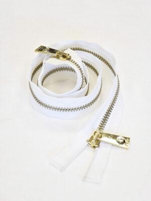 Молния разъемная белая золото 65 см (m0922) - Фото 14
