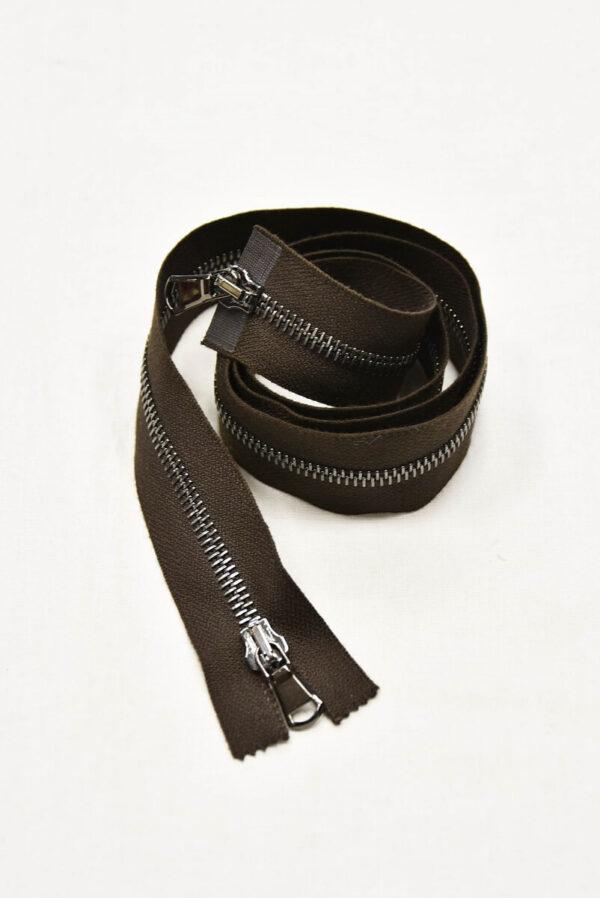 Молния блек никель разъемная темно-коричневая 90 см (m0956) - Фото 6
