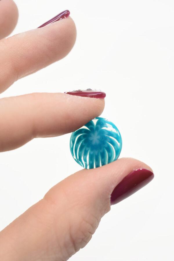 Пуговица пластик голубая полупрозрачная с мелким цветочком (р1304, р1284) - Фото 9