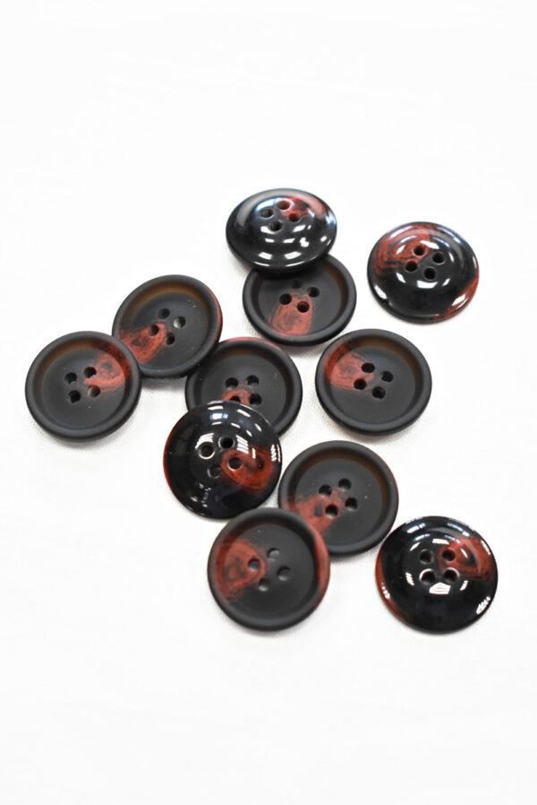 Пуговица черная с красными вкраплениями (р1205, р1336) - Фото 8