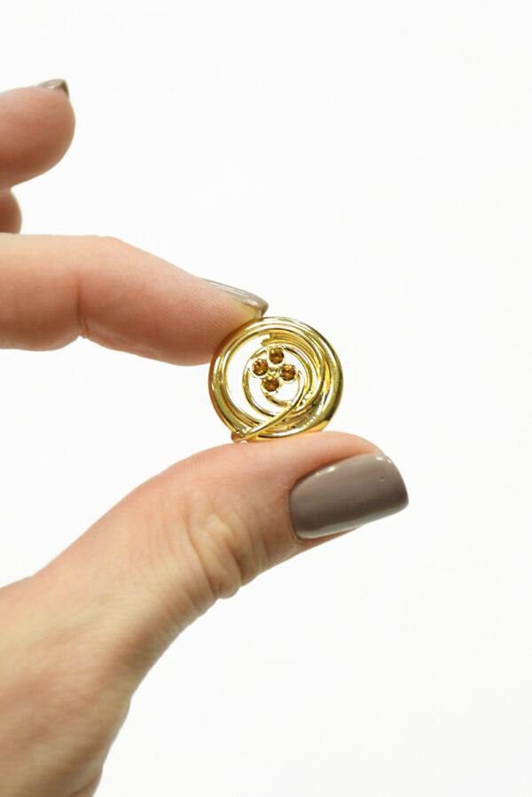Пуговица металл золото с мелкими кристаллами 3