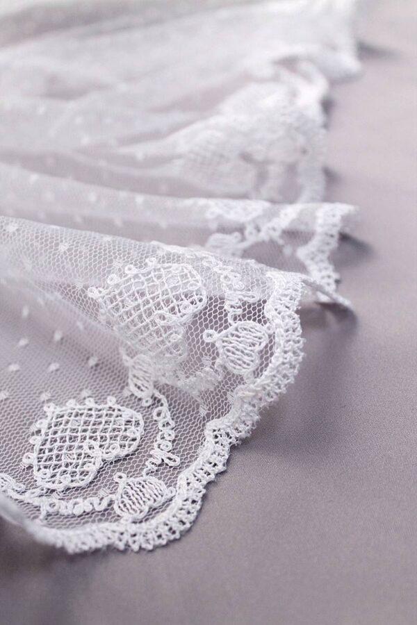 Кружево отделочное белое вышивка сердечки (t0069) т-23 - Фото 7