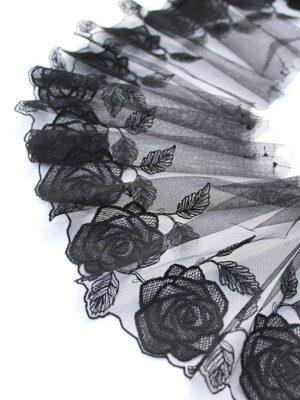 Кружево отделочное черное с розами (t0096) т-20 - Фото 12