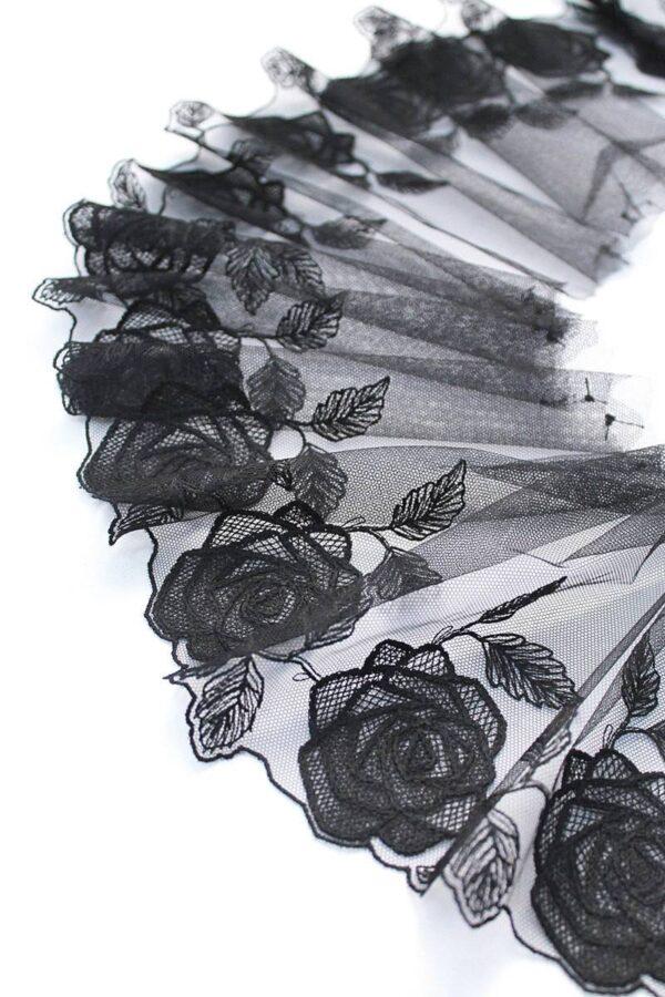 Кружево отделочное черное с розами (t0096) т-20 - Фото 6