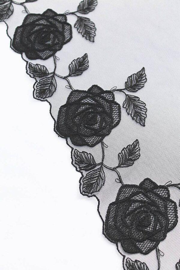 Кружево отделочное черное с розами (t0096) т-20 - Фото 8