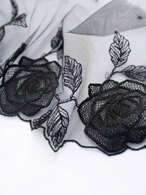 Кружево отделочное черное с розами (t0096) т-20 - Фото 13