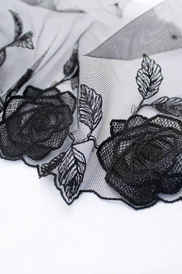 Кружево отделочное черное с розами (t0096) т-20 - Фото 7