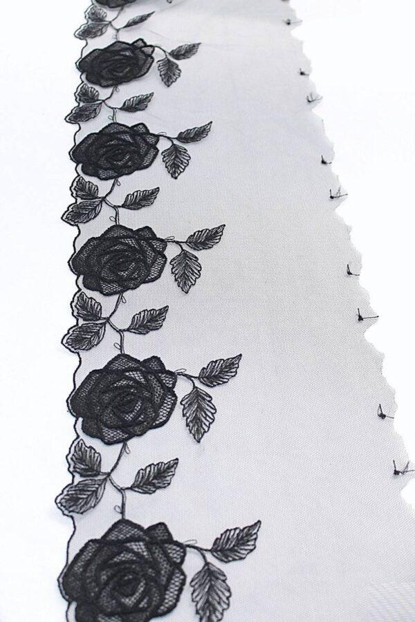 Кружево отделочное черное с розами (t0096) т-20 - Фото 9