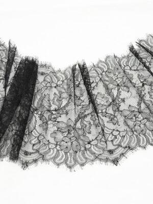 Кружево черное с цветами  и фестонами (t0105) К-20 - Фото 12