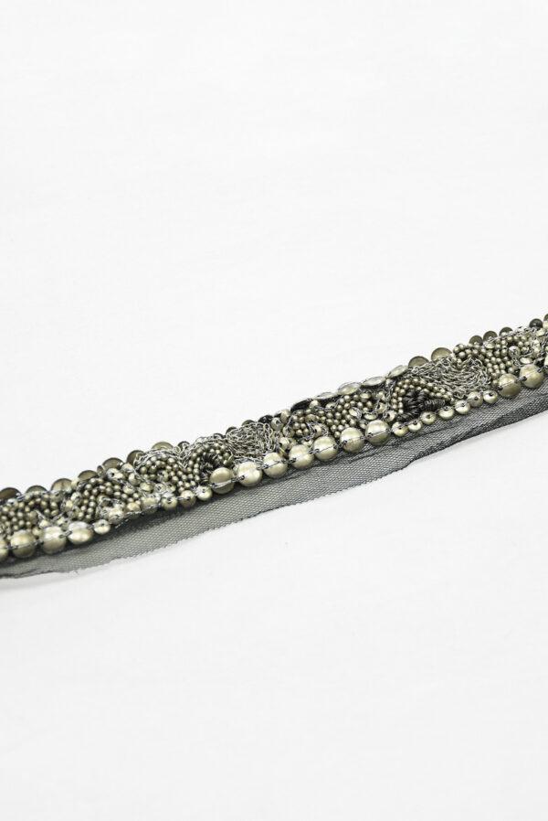 Тесьма с серебристыми бусинами и цепью на черной сетке (t0118) К-8 - Фото 8