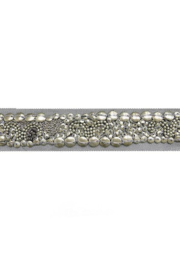 Тесьма с серебристыми бусинами и цепью на черной сетке (t0118) К-8 - Фото 9