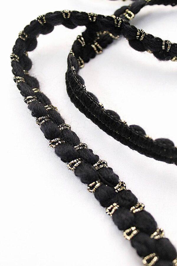Тесьма шерсть черная с золотым люрексом (t0121) т-7 - Фото 8