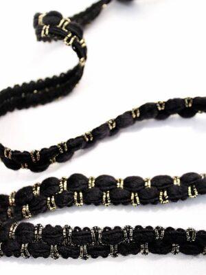 Тесьма шерсть черная с золотым люрексом (t0121) - Фото 10