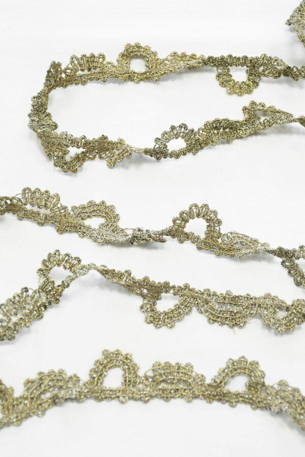 Тесьма кружевная с люрексом золото/платина (t0165) К-7 - Фото 6