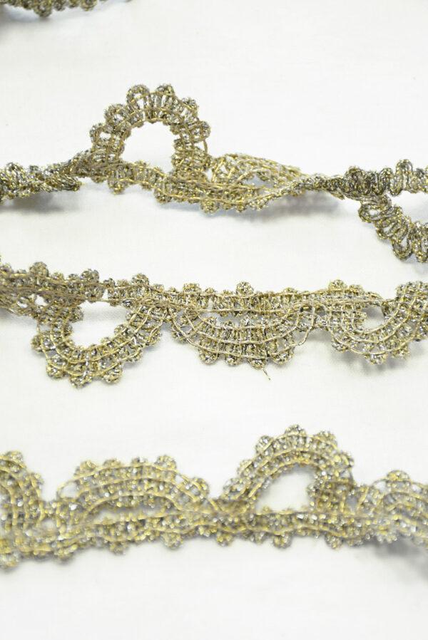 Тесьма кружевная с люрексом золото/платина (t0165) К-7 - Фото 9