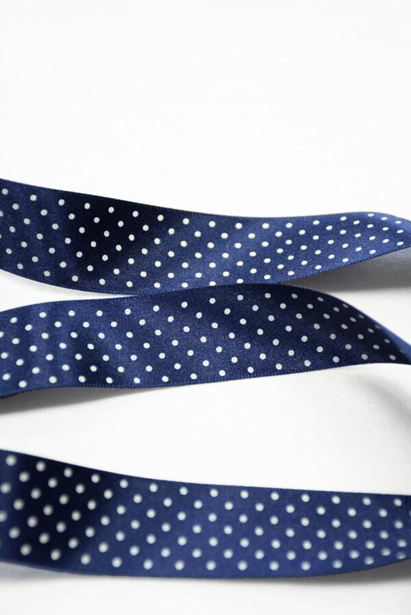 Тесьма лента атласная синяя в белый горошек (t0201) К-8 - Фото 8