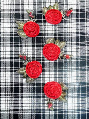 Аппликация бархатная красная роза с вышивкой (t0444) д-2 - Фото 14