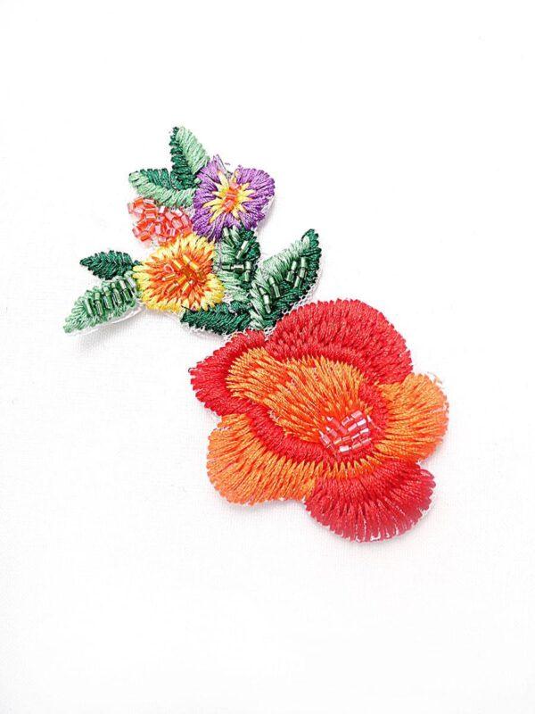 Аппликация цветы вышивка стеклярус (t0451) А-2 - Фото 6