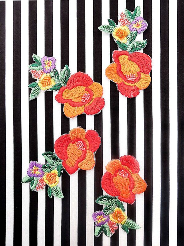 Аппликация цветы вышивка стеклярус (t0451) А-2 - Фото 7
