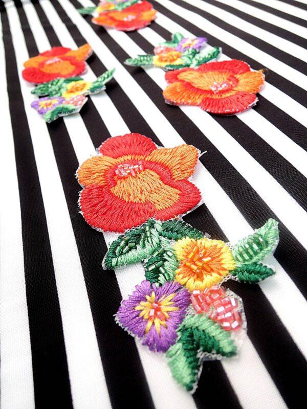 Аппликация цветы вышивка стеклярус (t0451) А-2 - Фото 8