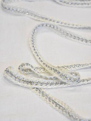Тесьма плетеная молочно-белая с металлической цепочкой (t0505) т-19 - Фото 13