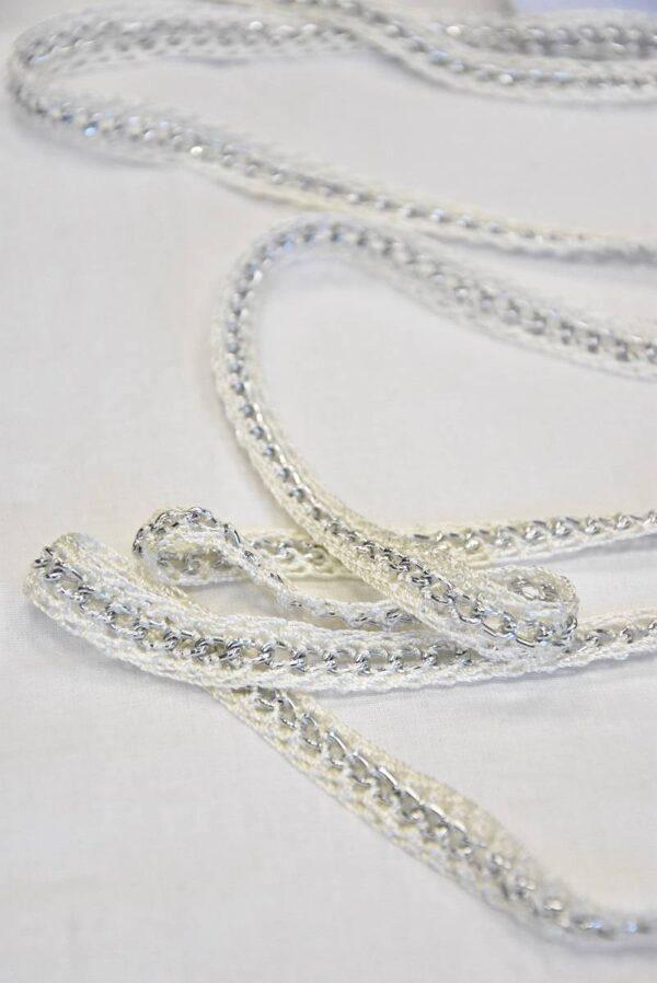 Тесьма плетеная молочно-белая с металлической цепочкой (t0505) т-19 - Фото 6