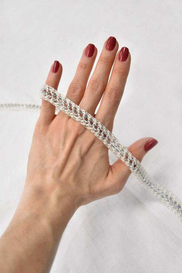 Тесьма плетеная молочно-белая с металлической цепочкой (t0505) т-19 - Фото 8