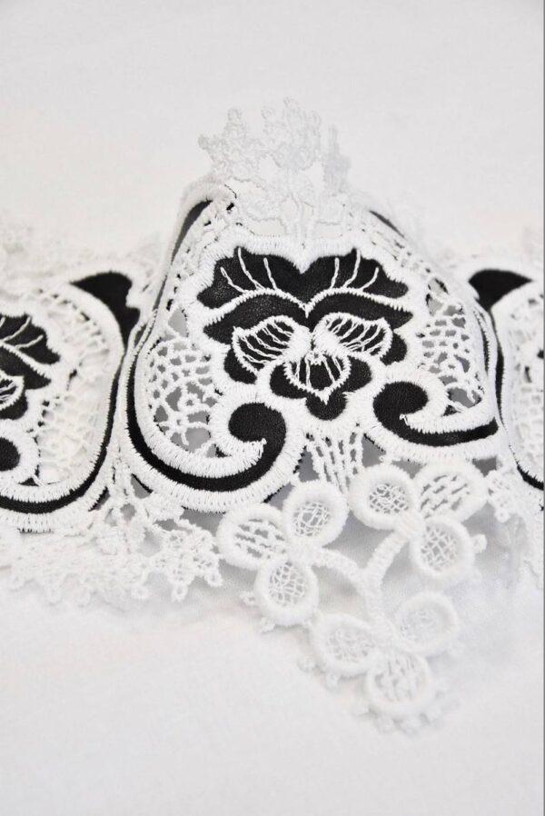 Тесьма кружевная макраме молочные цветы с кожаными вставками ( t0510) т-2 - Фото 10